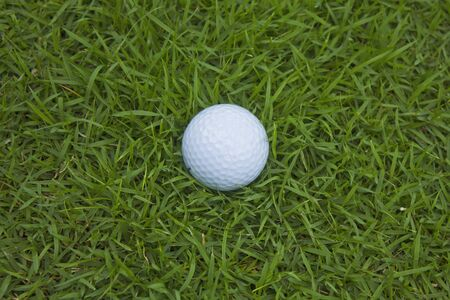 Stock Photo - closeup of golf ball on green grass Stock Photo
