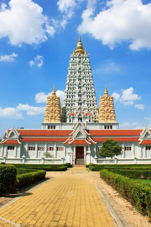 temple in thailand  on the blue sky texture background  photo