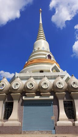 temple in thailand  on the blue sky texture background. photo