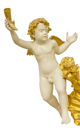 Stock Photo - Cupid statue on white backgronds photo