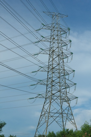 Power transmission tower with cables photo