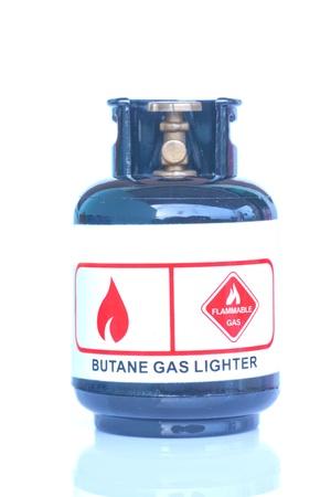 gas cylinder: cilindro de gas en el fondo blanco