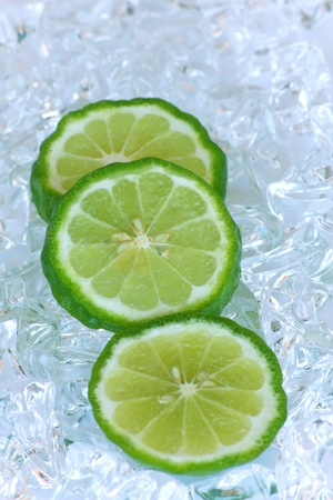thai herb: Stock Photo - Lime isolated on a ice background
