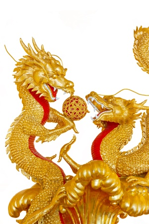 Stock Photo - Two Golden Chinese Dragon photo