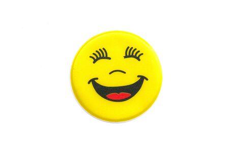 smiley face: Stock Photo - Bright, yellow sticker with a smiley face Stock Photo