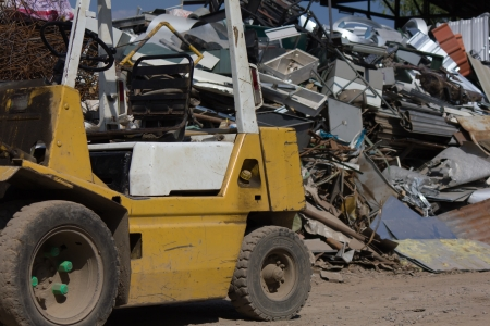 Stock Photo - Forklift and steel Scrap photo