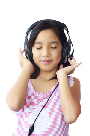 Stock Photo - Asia girl wearing headphones on white background photo
