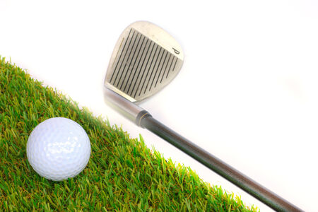 golf equipment: Golf equipment and golf ball on white background Stock Photo