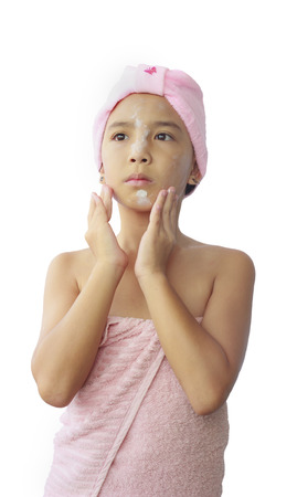 moisturize: Beautiful asian girl applying moisturize cream Stock Photo