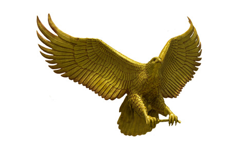 Golden eagle statue with big expanded wings Stock Photo
