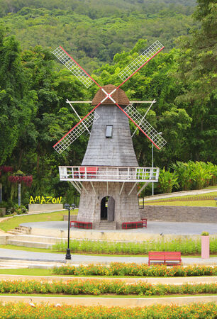 watermanagement: Windmill landscape in the jungle Stock Photo Stock Photo