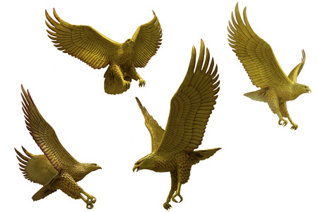 Golden eagles statue with big expanded wings Stock Photo Stok Fotoğraf