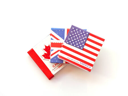 USA,British,Canadian flag on the notebook photo