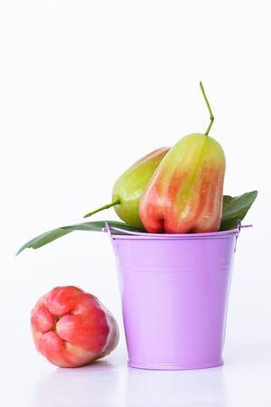 cisterna: Red ros e manzana en una cisterna en el fondo blanco