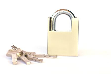 strong toughness: Set of padlock and keys isolated over white background