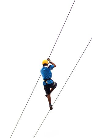 seeker: A male thrill seeker riding a zipline
