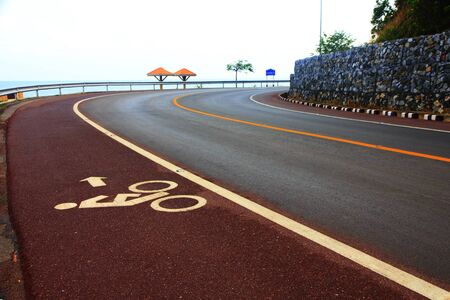 Bicycle lane. White mark of bicycle and white arrow pointing one way photo