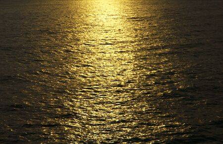 Beautiful sunset sunrise over blue sea ocean photo