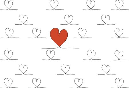 love hearts: Hand drawn stylish love hearts pattern