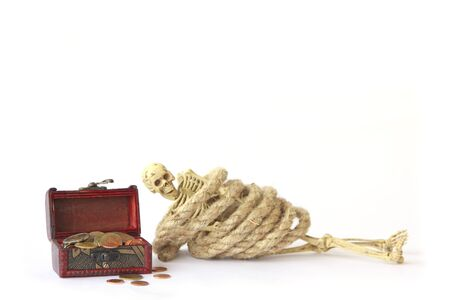 nightmarish: Stock Photo: Treasure chest old with Jewelry and human skeleton Still life. Stock Photo
