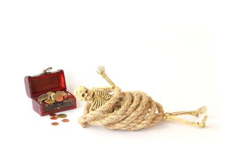 nightmarish: Stock Photo: Treasure chest old with Jewelry and human skeleton Still life. Stock Photo