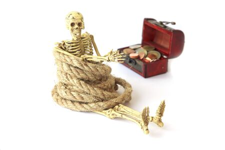 frightful: Stock Photo: Treasure chest old with Jewelry and human skeleton Still life. Stock Photo