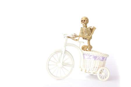 pull toy: Ciclismo esqueleto humano en el fondo blanco Foto de archivo