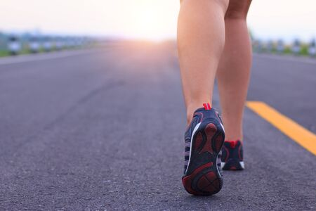 healthy sport: athlete running sport feet on trail healthy lifestyle fitness