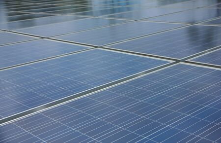 reflexion: Reflexion of the clouds on the photovoltaic modules Stock Photo