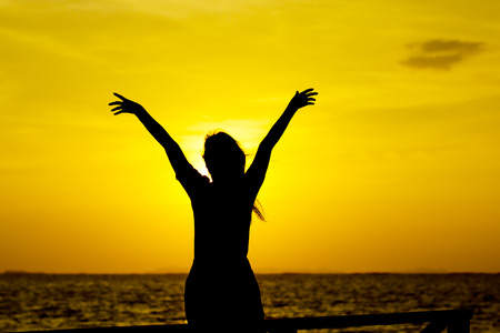 full: back view of a silhouette of a woman looking forward at sunset on the beach Stock Photo
