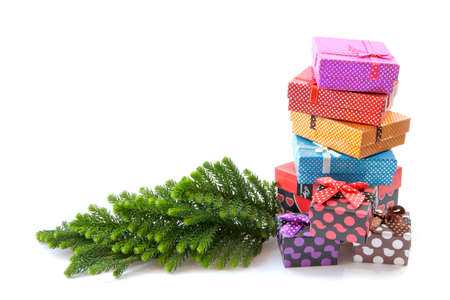 ribbons and bows: Collection of color gift boxes with bows and ribbons Stock Photo