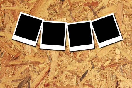 wood backgrounds: Stock Photo - Retro photo frame on old tree trunk in closeup