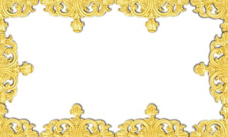 wood molding: framework of an ancient gold ornament on a white background