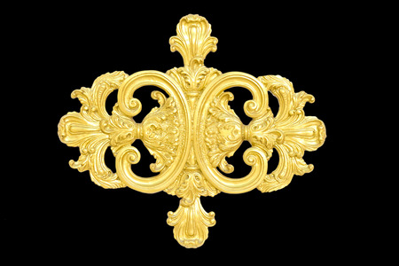 gold ornament: framework of an ancient gold ornament on a black background