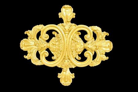 quadro di un antico ornamento d'oro su sfondo nero Archivio Fotografico