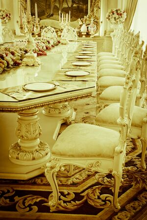 luxury room: Luxury Grand Dinning Room & Living Room vintage effect style pictures