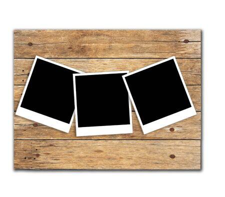photoframe: Retro photo frame  on wood background Stock Photo