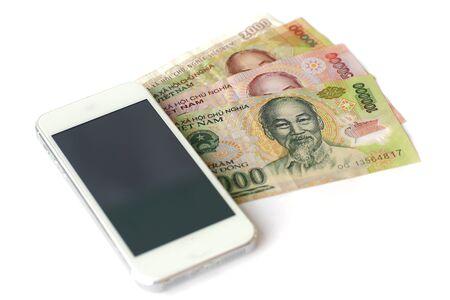 dong: Vietnamese money (Dong),vietnam money on white wooden background