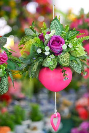 hanging basket: Hanging basket of flowers Stock Photo