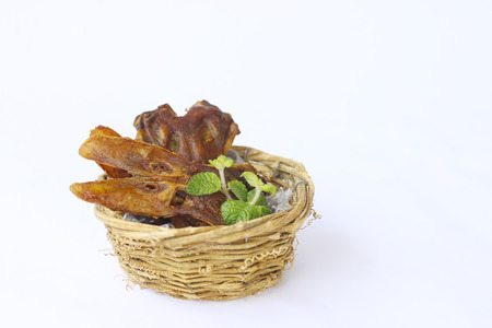 platypus: fried platypus on the basket.( fried duck mouth)