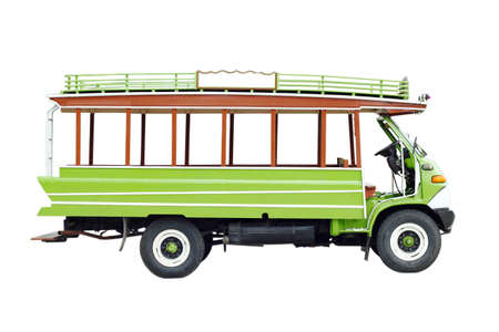 green local bus in Thailand on white background