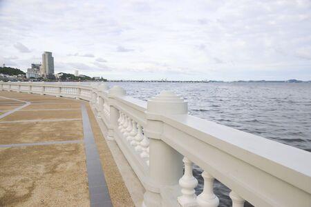 Detail concrete bridge railing ,concrete bridge across the sea. Detail concrete bridge railing.