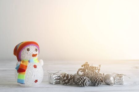 hopefulness: Snowman stand  hopefulness and happiness in Merry christmas and new year