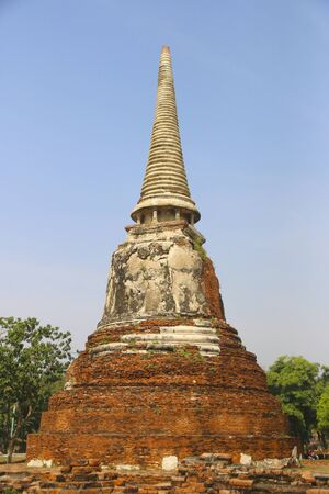 Ancient buddha statue at Wat Mahathat Buddhist temple, historic site in Ayutthaya, Thailand. Buddha statue Wat Mahathat temple, Ayutthaya, Thailand