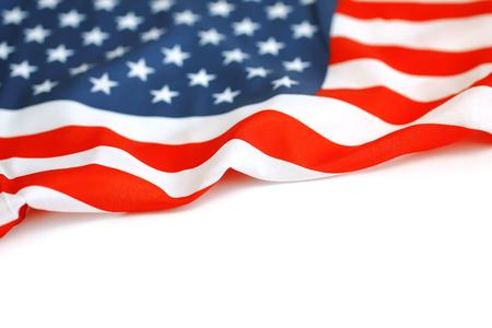 USA flag. American flag. American flag blowing wind. Close-up. Studio shot.