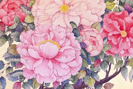 아름다운 장미 꽃, 수채화 물감