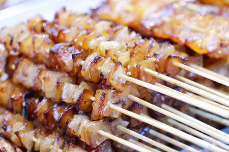 Healthy barbecued lean cubed pork kebabs