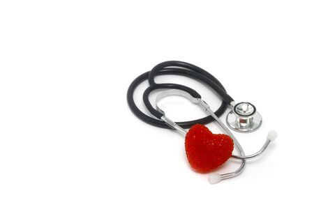 Stethoscope with red heart shape on white background, medical health care concept