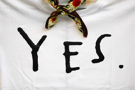Lettering yes sign. Symbol positive marks. Agree choice sticker. Template on t shirt,