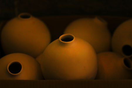 Vintage Unique Handmade Ceramic Vases Clay Pots Stacked In Stock